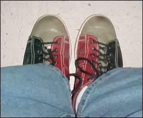 Bowling shoes... as Laura Jane holds up (above) and that I sport on my feet (below) these shoes are indeed as ugly as they look.