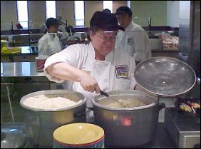 Here we have the rice that is used in many of the dishes here, being stirred and prepared for serving.