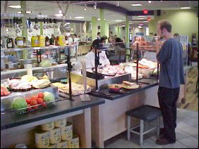 Now, continue around to the back of Accents, and you reach D-Hall Deli. Here you can get most any deli fare from the traditional to the unusual prepared for you. All you have to do is ask.