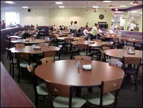 The experience is different as well now. Before, D-Hall had a combination of long and short tables. Now most tables are separate, and the furniture is brand new. In what used to be dining room #5, in the center of the room are a number of round tables, that seat six. Beyond this are a number of four-seat tables.