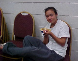 GOTCHA! We caught Hana chowing down in the pavilion room one night...