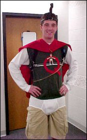 On the day of Halloween, people can't resist dressing up anyway, even though it was a Wednesday. Here, Scott dresses up as Quail Man from the cartoon series Doug.