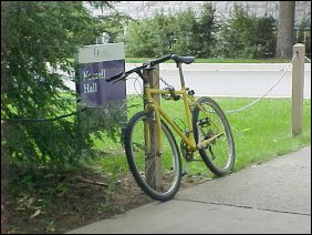 A bicycle sits idle, waiting for its owner to return...