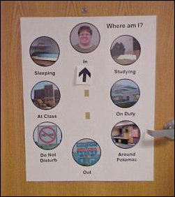 "Where is Mr. Schumin? Good question... the arrow, cleverly velcro-ed to the door, shows where I am. Done in the same picture-circle theme that I did my Web site in this year, the possibilities are ""In"" (picture of me), ""Studying"" (study room at Zane Showker), ""On Duty"" (a photo of Potomac Hall), ""Around Potomac"" (the 4th floor upperclass TV lounge from last year), ""Out"" (I-64 signs), ""Do Not Disturb"" (a no-left-turn sign slightly modified), ""At Class"" (Zane Showker Hall, of course!), and ""Sleeping"" (my loft from last year)."