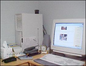 There it is - the computer! And what do you know... The Schumin Web is on screen!