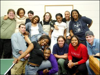 And this would be the Potomac 2002-2003 Hall Staff. In this picture, you will find (top row) me, Brittany, Tony, Kerstyn, Jen, Krystal, Aaron, Mecca, (bottom row) Thomas, Dorian, Donell, Christina, Ashley, and Joe.