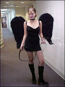 Megan went dressed up as a fallen-angel-slash-dominatrix. Gotta love that whip...