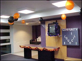 Fifth floor upperclass side had a more feminine touch to it in the decor, and was with one holiday - Halloween.