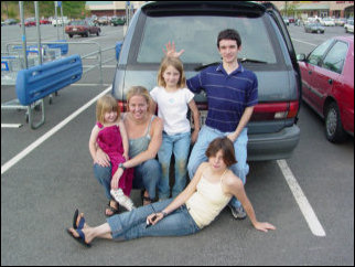 Far beyond the original hand signals in Roanoke, we're in the parking lot at the Kroger in Rocky Mount. Look at that parking job... I'm WAY over. In this picture, in front we have Maggie, then behind Maggie is (left to right) Sarah, Lori, Jane, and Josh.