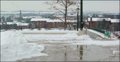 As you can see, the JMU campus and the city beyond are covered in snow.