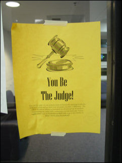 "A number of us pondered this advertisement, which, after watching enough TV over the weekend, started to take on a Judge Judy-style ""Here comes the judge!"" ring."