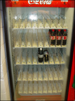 Perhaps the most shocking sight of the weekend was that we had literally cleaned out the vending machines! All that's left here is a few bottles of Diet Coke, and a few of Vanilla Coke.