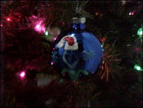This is my ornament, already adorning the tree. The guy in the Santa hat on the ornament, BTW, is supposed to be me as shown on the site in December of 2000.
