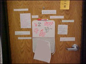 Down on my floor, I encountered this door, covered with quotes and thoughts.