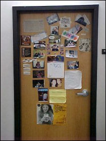 This door is covered with festive pictures, articles, and cutouts!