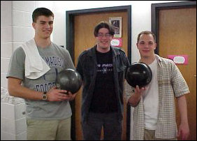 Andrew, Ben, and Dudik return from their league bowling!