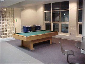 Outside of here is the first floor lounge.  On the upperclass side (the west wing), we have the pool table.