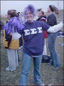 This Tri-Sigma sister was especially noticeable because of her purple wig.