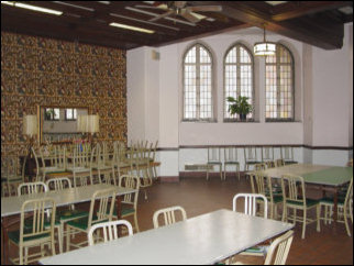 This is the dining room where people ate the food we served. Additionally, the Good Samaritan Worship Service was held here on Sunday morning.