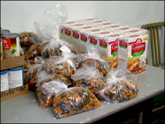 At the food pantry, there is a large selection of foods for those in need.