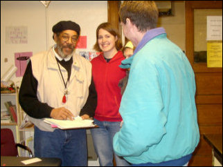 The gentleman at left is Lester, who operates the drop-in center, seen here in this LPCM file photo from March. A new experience for me: I was in a conversation with two gentlemen, and I could not get a word in edgewise! Mark commented that he would have paid to see such a thing.