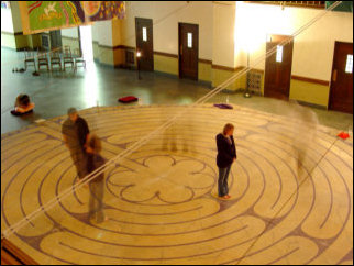 Afterwards, I joined the group who went to walk the Labyrinth that was set up downstairs. The Labyrinth is not a maze, per se. No tricks, no traps, no dead ends. There is one path from start to finish, and only one path (unless you cheat and go outside the lines). LPCM members followed the path, stopping periodically to say a prayer. A very spiritual experience.