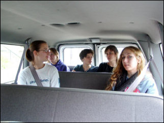 And now, we've hit the halfway mark, and we're taking off to go downtown for lunch. Here we are in the van.